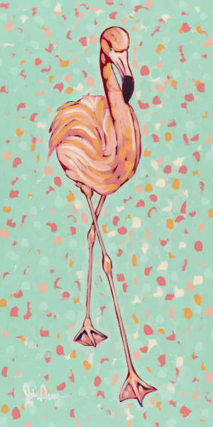Flamingo II is second in a series of two original acrylic paintings of pink flamingos.