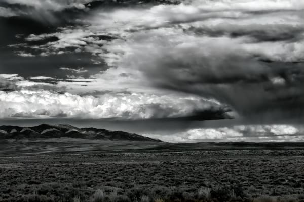 Summer, Rainstorm, Wyoming, B&W, black and white, horizontal