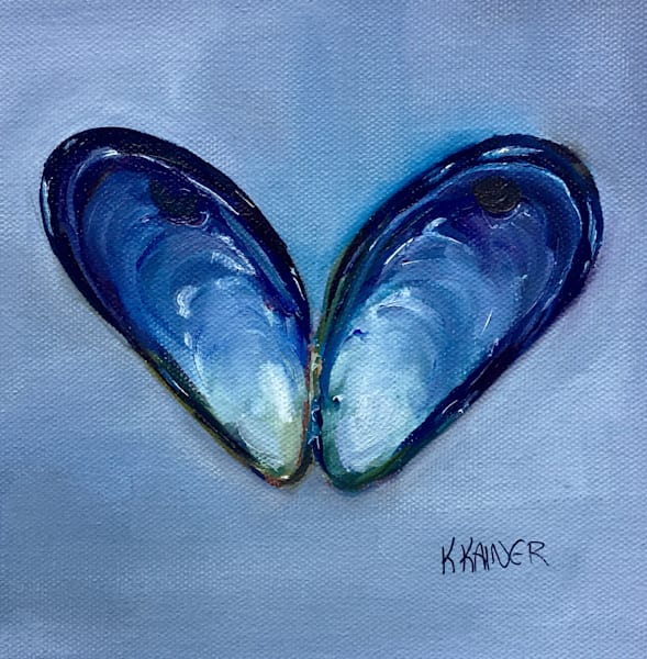 Mussel Love Original Oil Painting by Coastal Artist Kristine Kainer