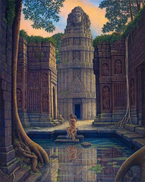 On Temple Steps Canvas Giclee Art   markhensonart