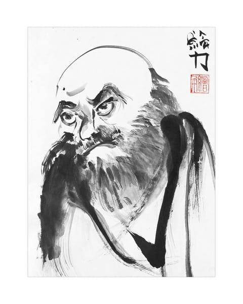 sumi-e, black, ink, portrait, one