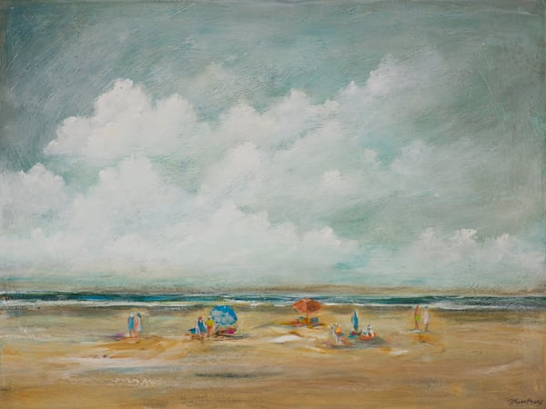 umbrellas seascape coastal original painting