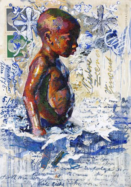 Blue Postcard Beach Boy Art   Bianca Berends