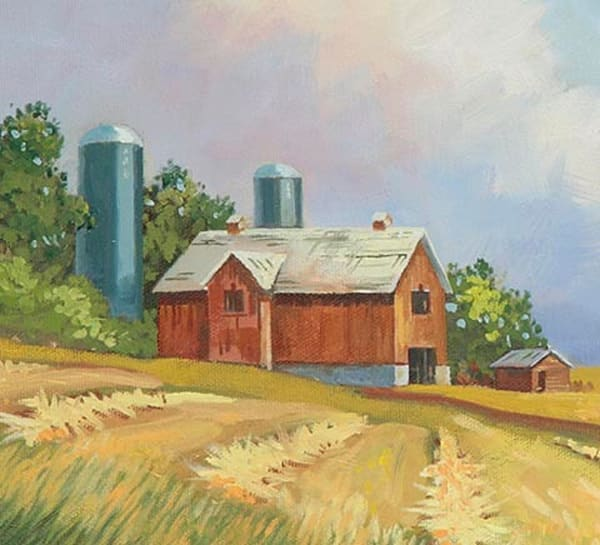 "Barn ""N"" Silos  (Oil Painting) Art 