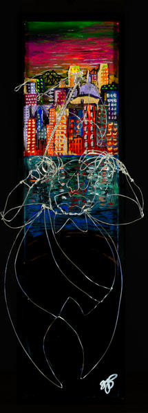 """Jazz Scene""  New Orleans Skyline Art   Jamila Art Gallery"