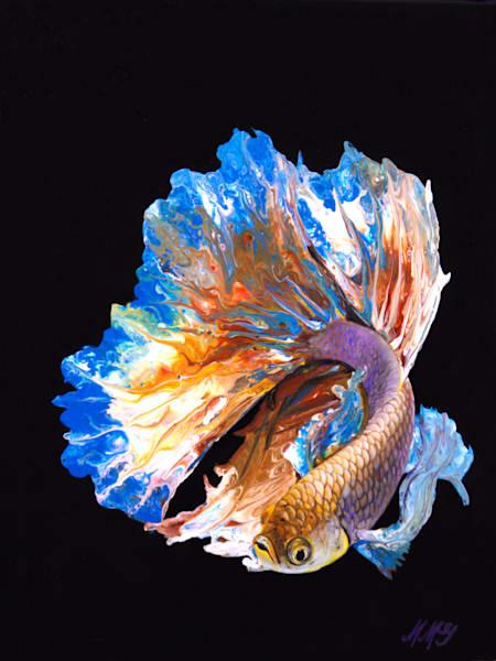 Golden Betta Fish | Original Mixed Media Painting Art | MMG Art Studio | Fine Art Colorado Gallery