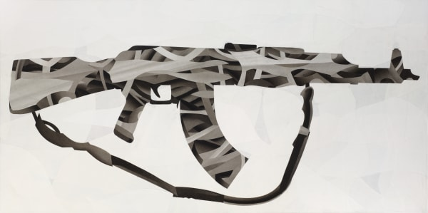 AK 47 gun abstract art - black and white collage by Daniel Voelker.