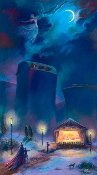 The Little Theater, Moon Waltz, original pastel painting