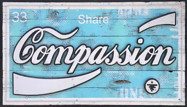 Share Compassion (blue)' Sign Art on Distressed Wood