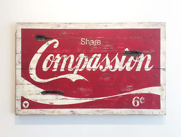 Share Compassion (red)' Sign Art on Distressed Wood