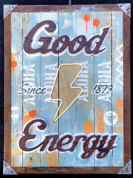 Good Energy' Positive Message  Art on Distressed Wood