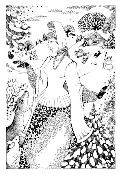 Russian Winter original pen & ink drawing