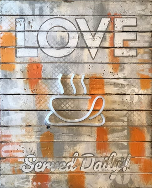 Love Served Daily' Positive Message  Art on Distressed Wood