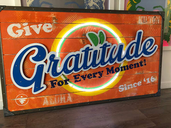 Gratitude (Sunkist)' Positive Message  Art on Distressed Wood