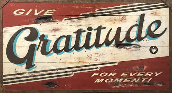 Gratitude (Terra Cotta)' Positive Message  Art on Distressed Wood