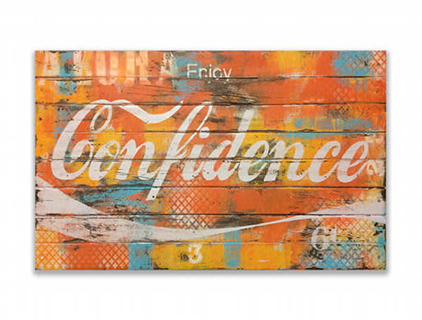 Confidence' Positive Message  Art on Distressed Wood