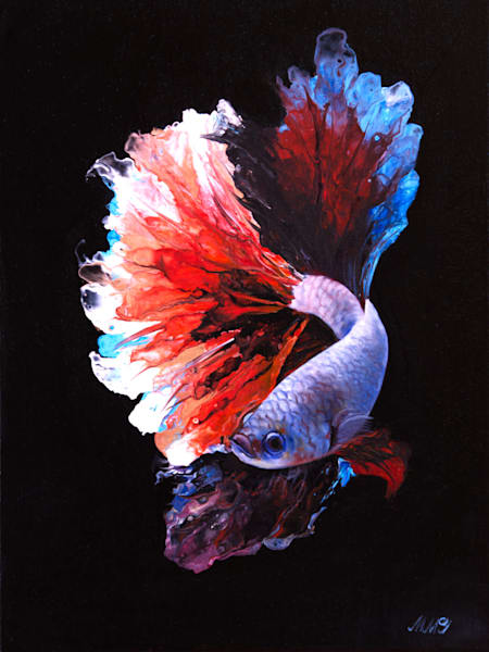 Crowntail Betta Fish | Original Mixed Media Painting