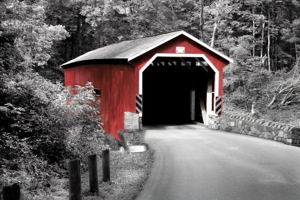 Lancaster Co. covered bridge in summer B W R