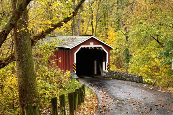 Lancaster Co. covered bridge in fall
