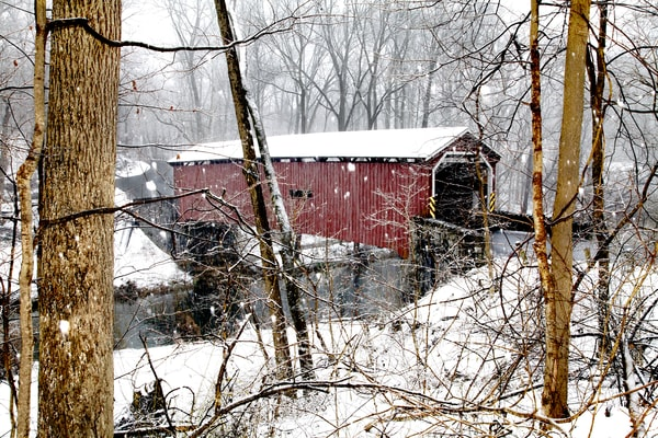 Lancaster Co. covered bridge in snow south side profile