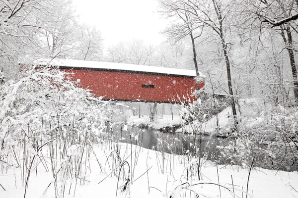 Lancaster Co. Park covered bridge in snow north side view