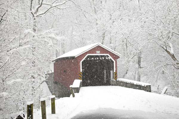 Lancaster Co. Park covered bridge in snow