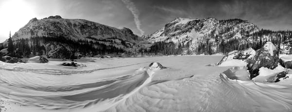 A Winter Panorama At Lake Haiyaha Photography Art | Nicholas Jensen Photography