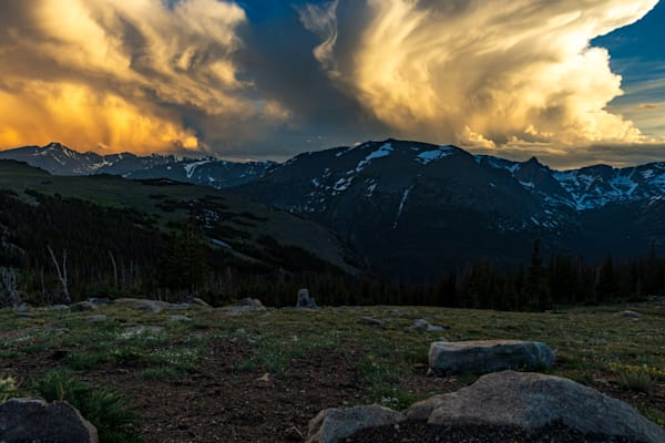 Photograph of a beautiful and unusual sunset over Rocky Mountain National Park.