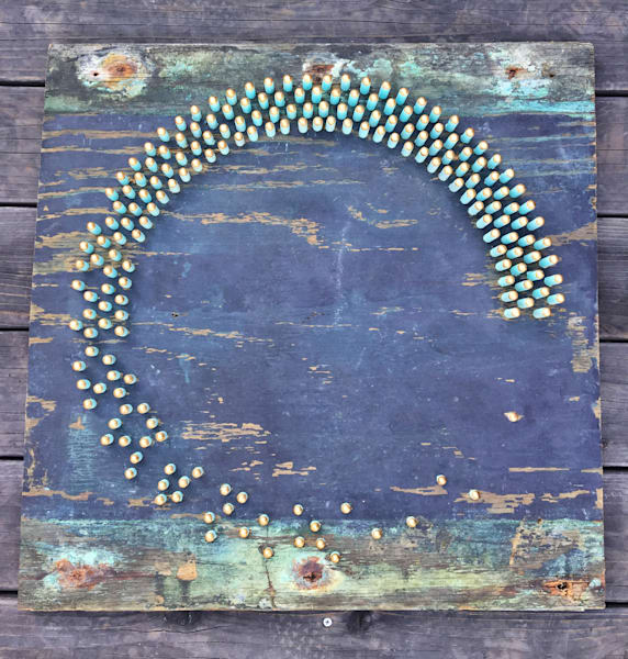 Marine Enso Mixed Media Wood Carved Sculpture Art by Andrew from Cool Art House