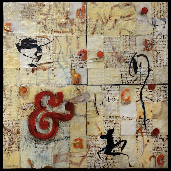 past and present-Sold original collage of vellum document circa 1704 by artist Shirley Williams