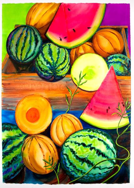 Watermelons On The Vine ~ Print Art | Chatt Hills Artist Co-op, LLC
