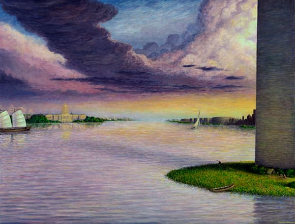 Sunset on the Potomac original oil painting by Mark Henson