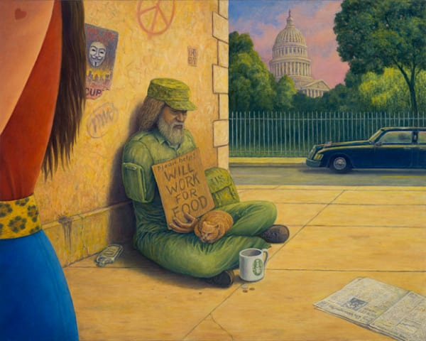 Work for Food original oil painting by Mark Henson