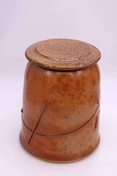 Shino Glazed Covered Jar with Cut Line Decoration