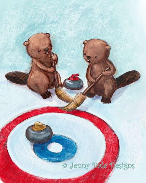 Beavers Curling  Art | Jenny Dale Designs