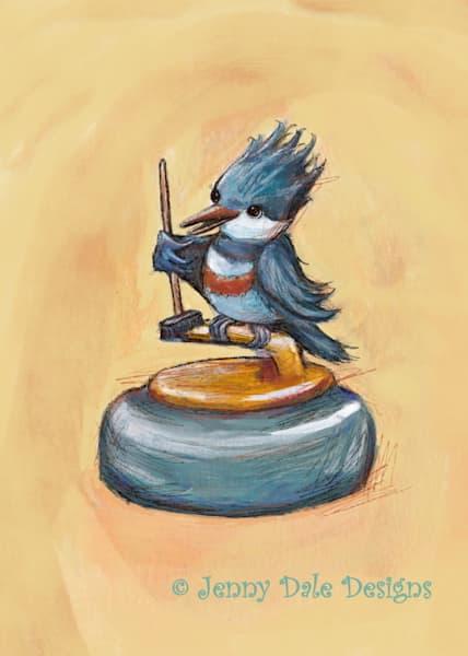 Okotoks Curling Bird Print Art by jennydaledesigns