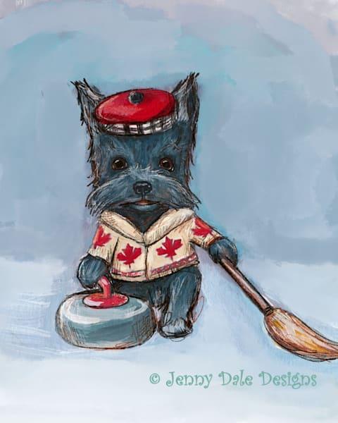 Curling Canadian Scottie Dog Art | Jenny Dale Designs