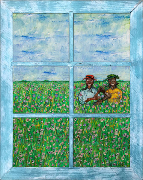 """Makidada"" On Metal With Vintage Window Frame Art | Jamila Art Gallery"