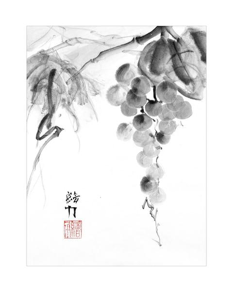 hombretheartist, sumi-e, grapes, three, ink