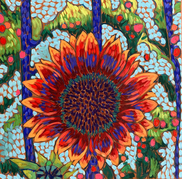 Red Sunflower, sunflowers, flowers, floral, floral art, van gogh, flowers-and-trees