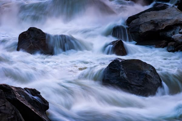 Boulders in the mist, Merced River