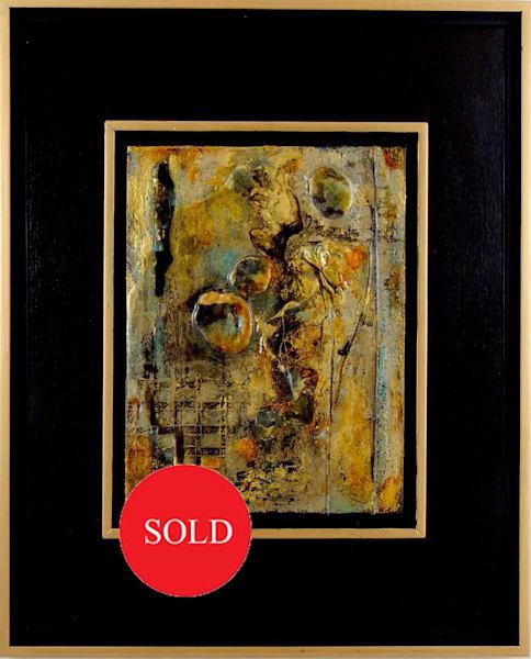 original, painting, mixed media, fabric, paper, gold