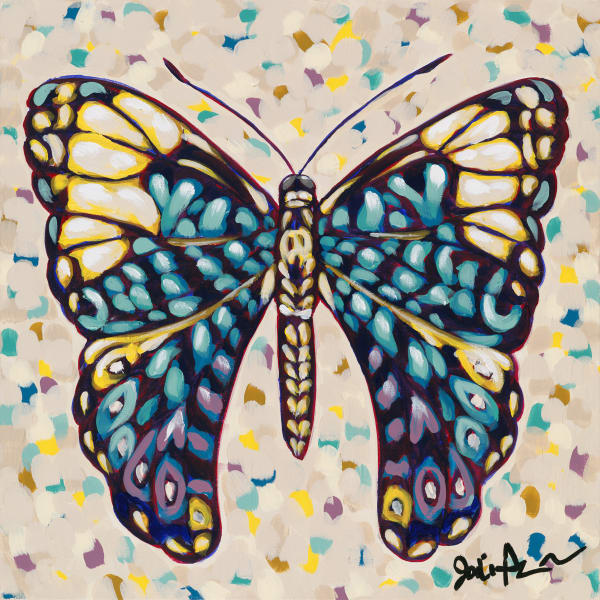 A fine art print of a blue and purple butterfly.