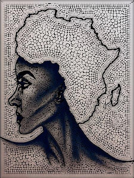 """Mother Land"" (Black & White Pointillism Style) Art | Jamila Art Gallery"
