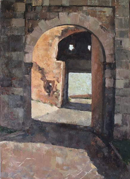 "Medieval Gate ""Are We There Yet"" Original Oil Painting Art 
