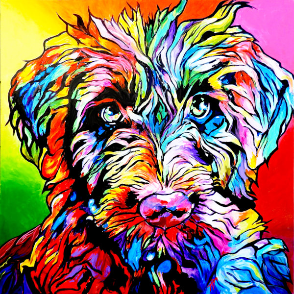 Snaiil Candy Art | Art by Tif Choate | Paintings of dogs and colorful animals | Snail Candy | Grover Needs a Haircut