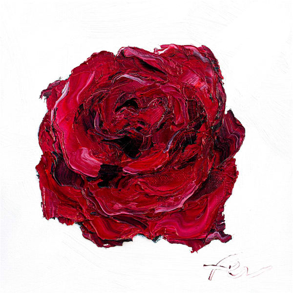 Deep Red Rose Painting Giclee | Fer Caggiano Art