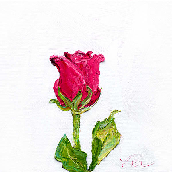 Pink Rose Painting Giclee | Fer Caggiano Art