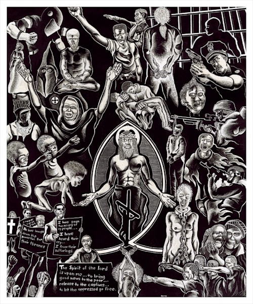 black and white, Jesus, scratchboard, oppressed,