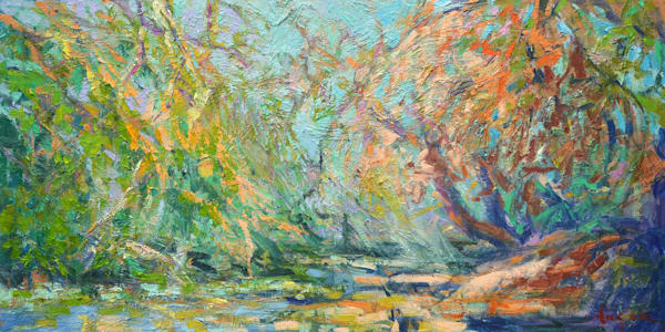 Fisherman River Landscape Original Oil Painting by Dorothy Fagan